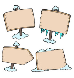 winter wooden signs vector image