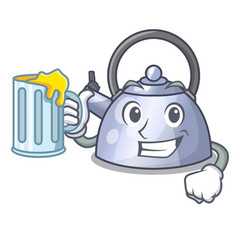 with juice whistling kettle cartoon on the stove vector image