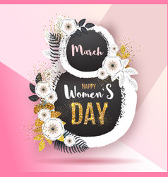Womens day poster with full blossom flowers and vector