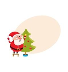 Cute and funny Santa Claus decorating a Christmas vector image vector image