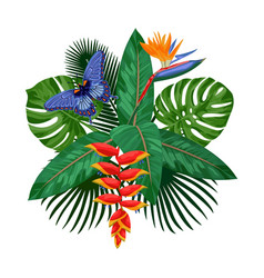 tropical bouquet postcard template vector image