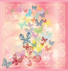 butterfly set isolated on pink background vector image vector image
