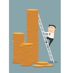 Cartoon businessman climbing to coins stacks vector image vector image