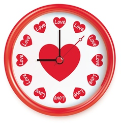 Clock with hearts vector image