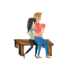 drawing couple love embracing sitting in bench vector image