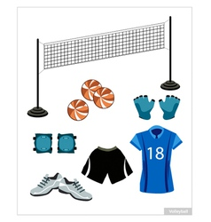 Set of Volleyball Equipment on White Background vector image