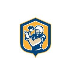American Football QB Throwing Shield Retro vector image vector image