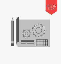 Blueprint project icon Flat design gray color vector image