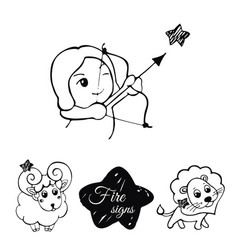 fire signs of the zodiac vector image vector image