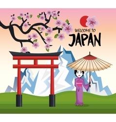girl japanese kimono welcome japan icon vector image