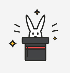 magician hat with rabbit surprise funny vector image