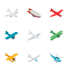 Aviation icons isometric 3d style vector