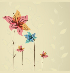 beautiful color floral design card vector image
