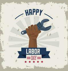 colorful poster of happy labor day with afro vector image