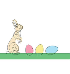 easter bunny continuous line vector image