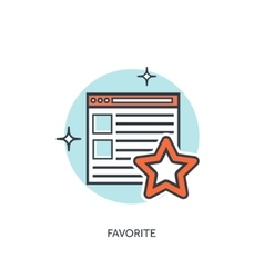 Flat linedstar favorite star icon Browser icon vector image