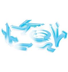 set of 3d blue arrows vector image vector image