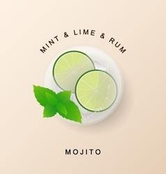 Tradition Summer drink mojito with lime and mint vector image vector image