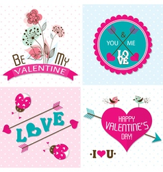 Valentines day cards with ornaments vector image