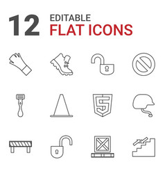 12 safety icons vector image