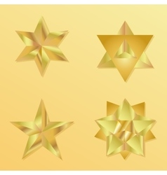 3d golden star set with variations vector