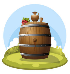 A barrel of wine on a hill with a jug and grapes vector