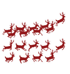 a set silhouettes running deer collection vector image