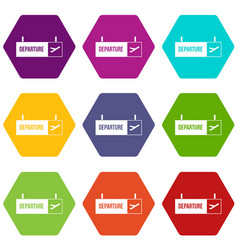 airport departure sign icon set color hexahedron vector image