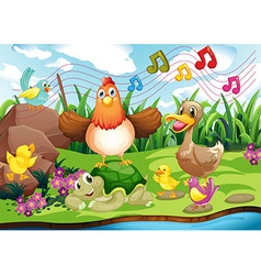 Animals singing at the riverbank vector