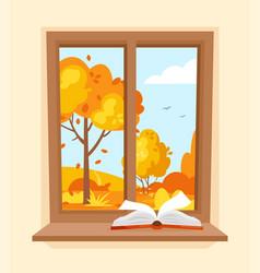 Autumn window vector