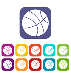 Basketball ball icons set flat vector