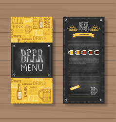 Beer menu set design for restaurant cafe pub vector