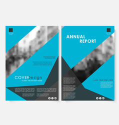 blue geometric annual report cover design vector image