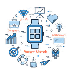 blue smart watch concept vector image