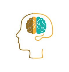 brain human with human profile creative icon vector image