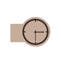 brown emblem sticker clock icon vector image