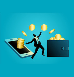 businessman delighted receiving gold coin transfer vector image