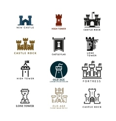 Castle fortress logo set vector image