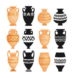 Ceramic ancient pottery objects vector