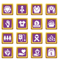 charity icons set purple square vector image