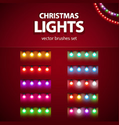 christmas garlands with lamps set brushes vector image