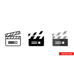 clapperboard icon 3 types isolated sign vector image