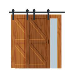 Classic wooden sliding door apartment design vector