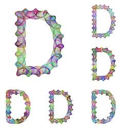 Colorful ellipse fractal font - letter D vector image