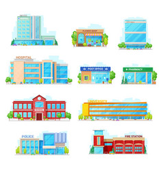 Commercial and municipal city buildings icons vector