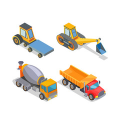 construction machines icons working devices set vector image