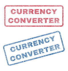 Currency converter textile stamps vector