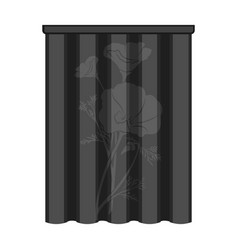 Curtains single icon in monochrome stylecurtains vector