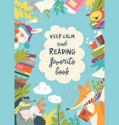 Cute frame composed of animals reading books vector