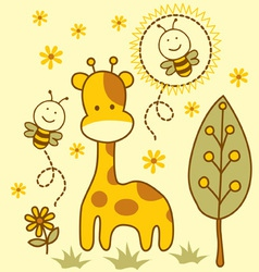 Cute giraffe and bees vector image